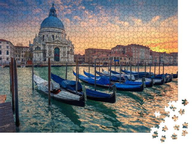 """Puzzle 1000 Teile """"Stimmungsvoller Abend am Canal Grande, Venedig, Italien"""""""