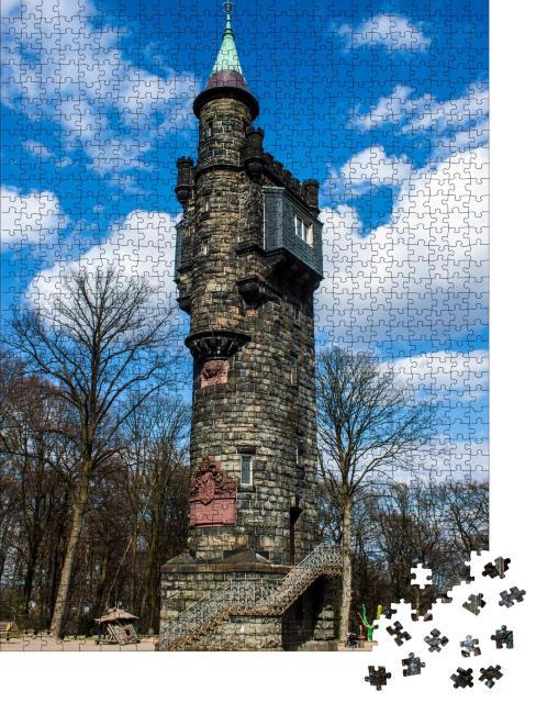 """Puzzle 1000 Teile """"Von-der-Heydt-Turm in Wuppertal, Deutschland"""""""