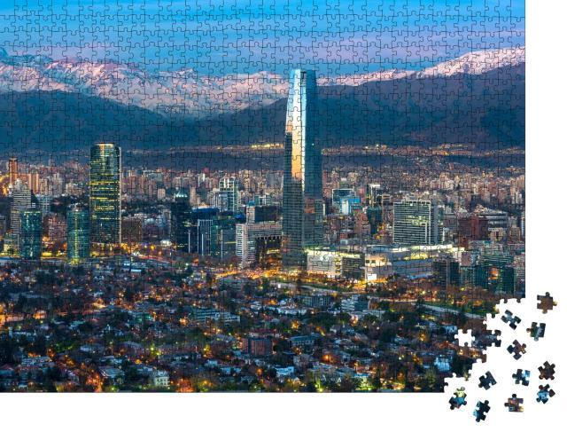 """Puzzle 1000 Teile """"Panoramablick auf Providencia und Las Condes, Wolkenkratzer in Santiago de Chile"""""""