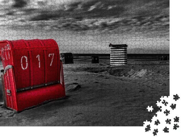 """Puzzle 1000 Teile """"Sandstrand mit rotem Strandkorb, Borkum, Deutschland"""""""