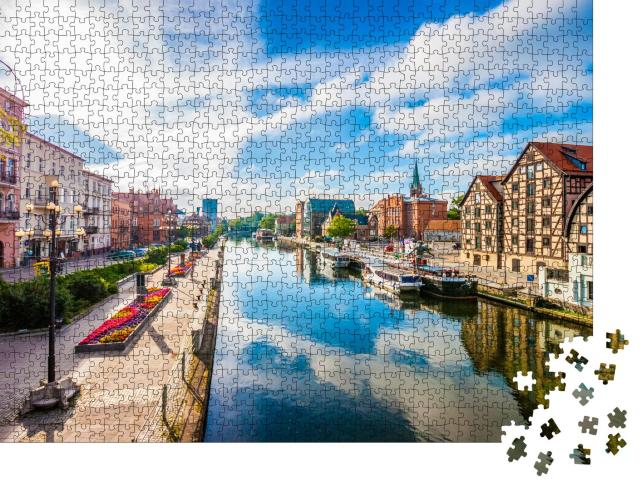 """Puzzle 1000 Teile """"Altstadt und Getreidespeicher am Fluss Brda, Bydgoszcz, Polen"""""""