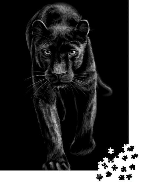 """Puzzle 1000 Teile """"Panther: künstlerisches, skizzenhaftes, schwarz-weißes Porträt"""""""