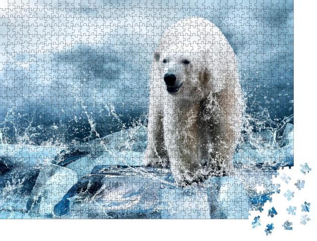"""Puzzle 1000 Teile """"Weißer Eisbärenjäger auf dem Eis"""""""