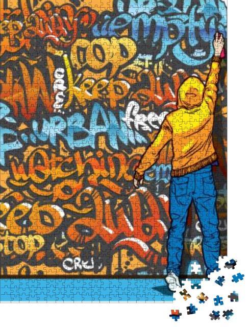 """Puzzle 1000 Teile """"Illustration: Junger Mann beim Graffiti-sprühen"""""""