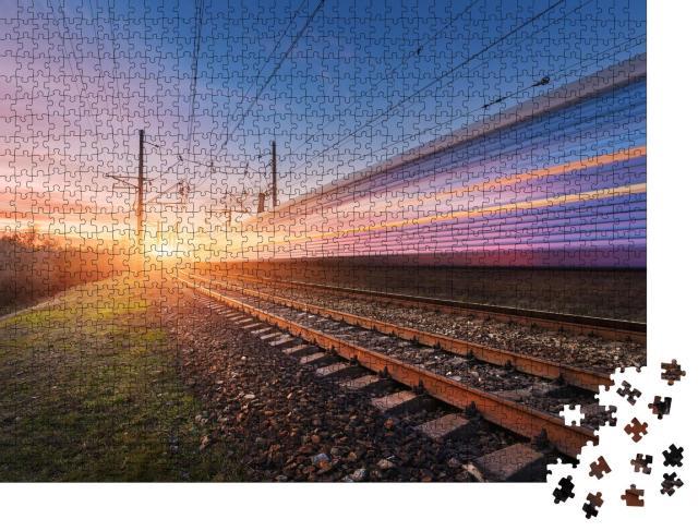 """Puzzle 1000 Teile """"Hochgeschwindigkeitszug in voller Fahrt"""""""